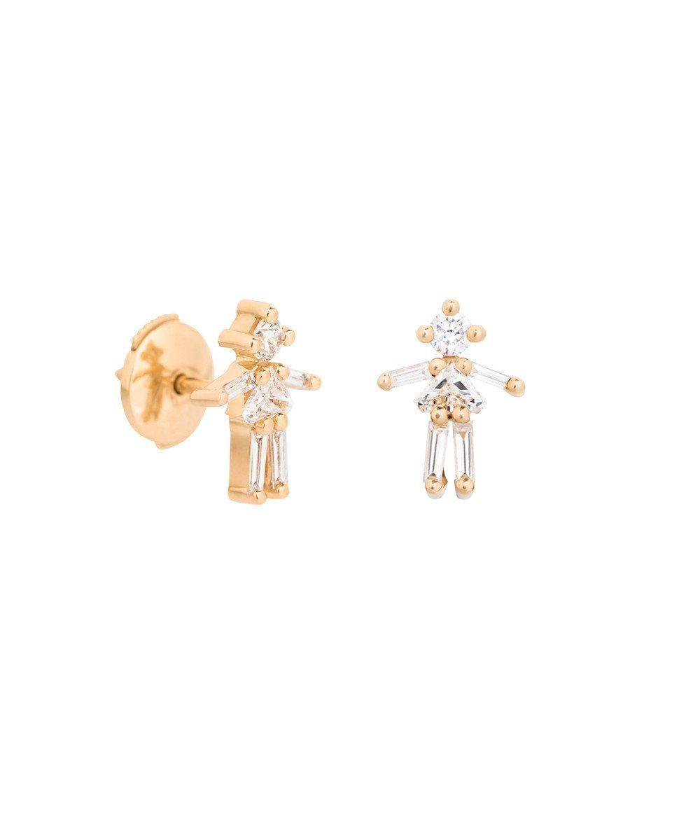 Girl Earrings in Yellow Gold and Diamonds - Little Ones Paris