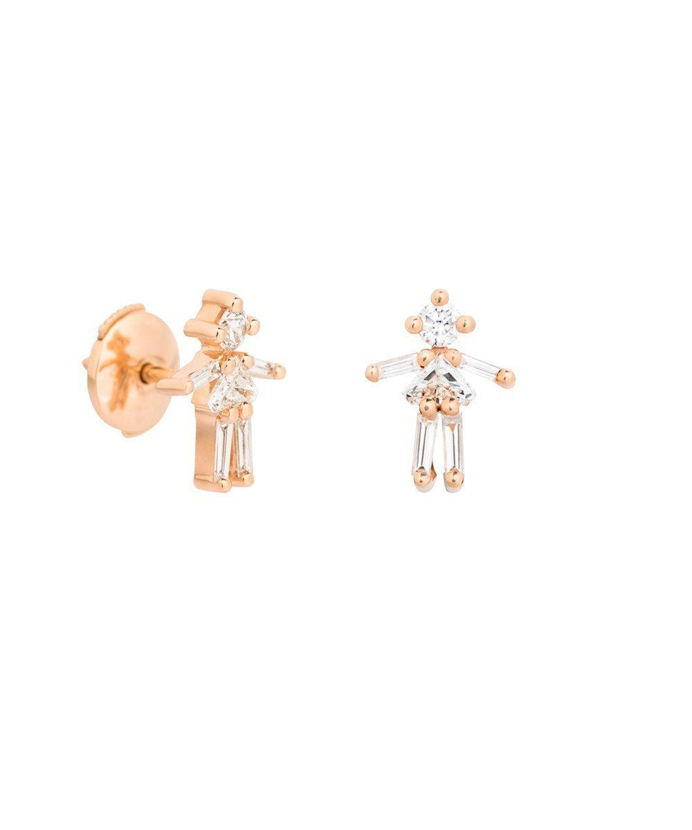 Pink gold and diamond girl ear studs - Little Ones Paris