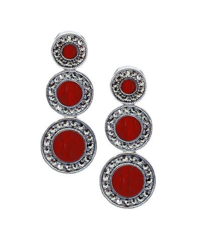 Art deco earrings in carnelian, marcasites and silver