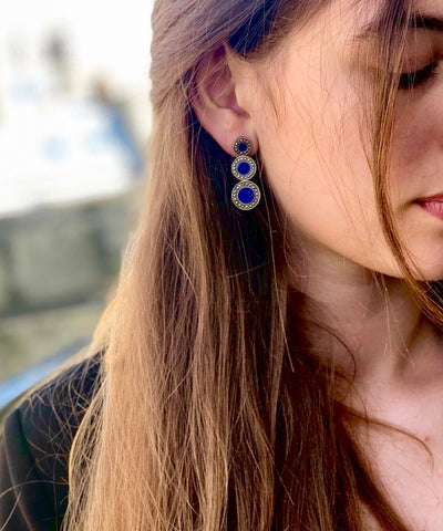 Art deco earrings made of lapis lazuli, marcasites and silver