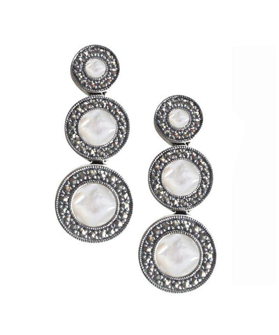 Art deco earrings in mother-of-pearl, marcasites and silver