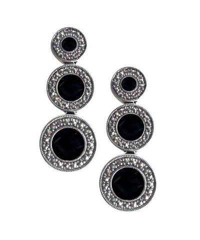 Art deco earrings in onyx, marcasites and silver