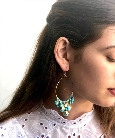 Andalusian turquoise hoop earrings Editions LESSisRARE Jewelery worn