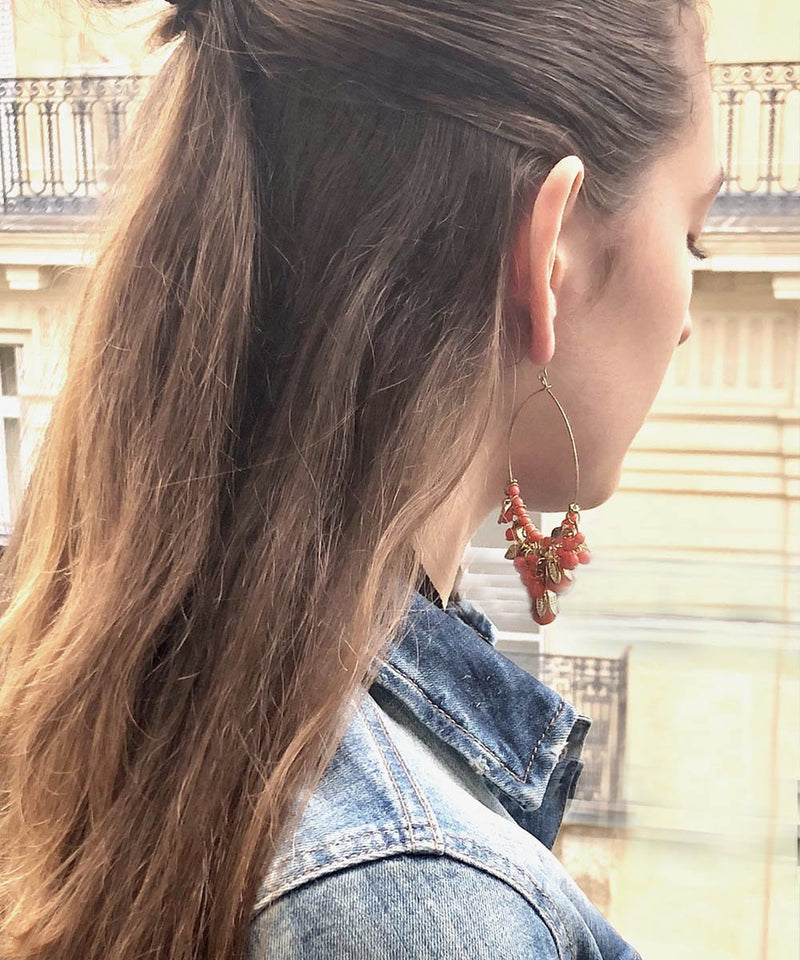 Andalusian orange hoop earrings designer Editions LESSisRARE Bijoux