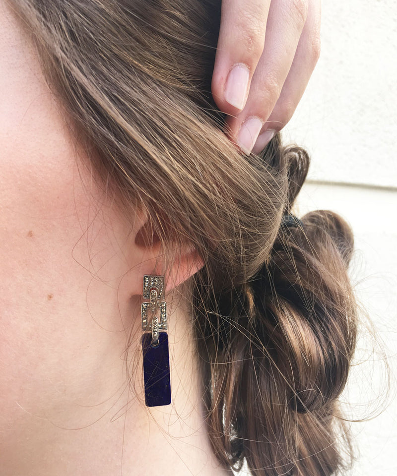 Art deco onyx earrings in silver and marcasites
