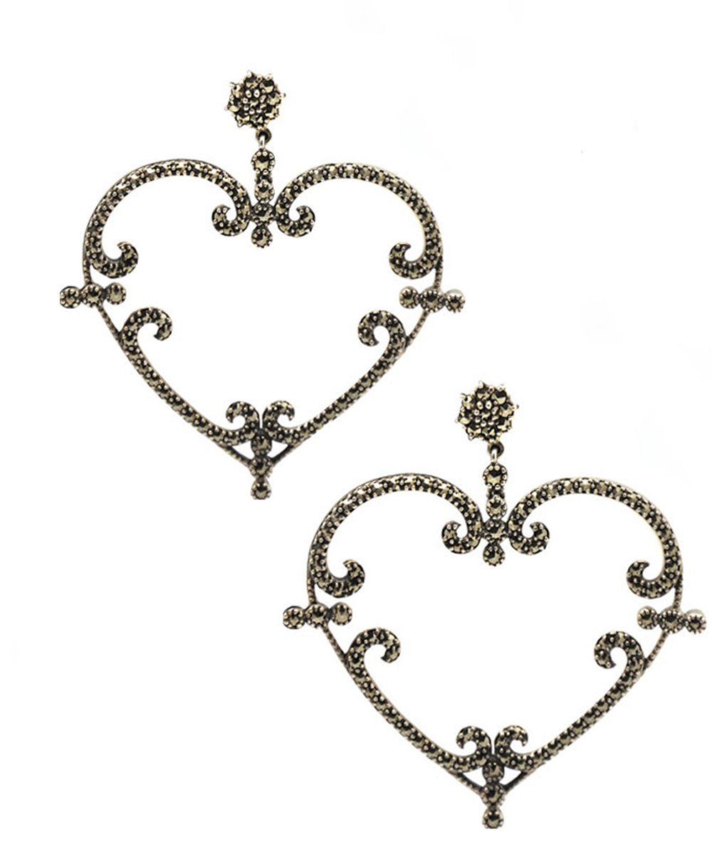 Art Deco Heart Earrings in Marcasites and Silver Art Deco Creator