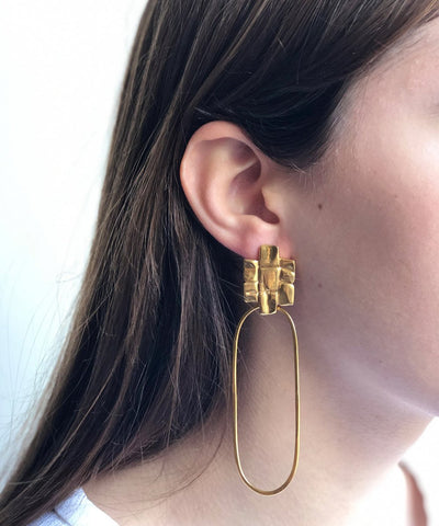 Gold plated bark earrings - Eloïse Fiorentino