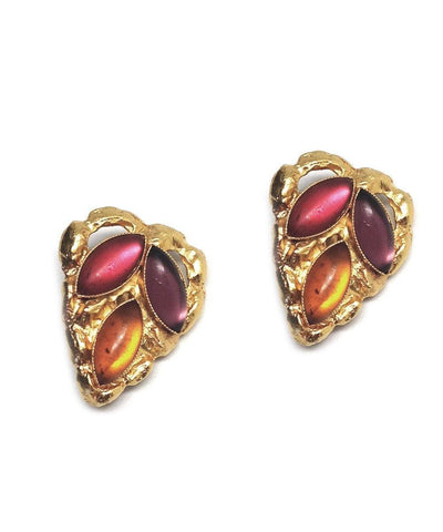 Navette heart clip earrings - Carole saint germes red