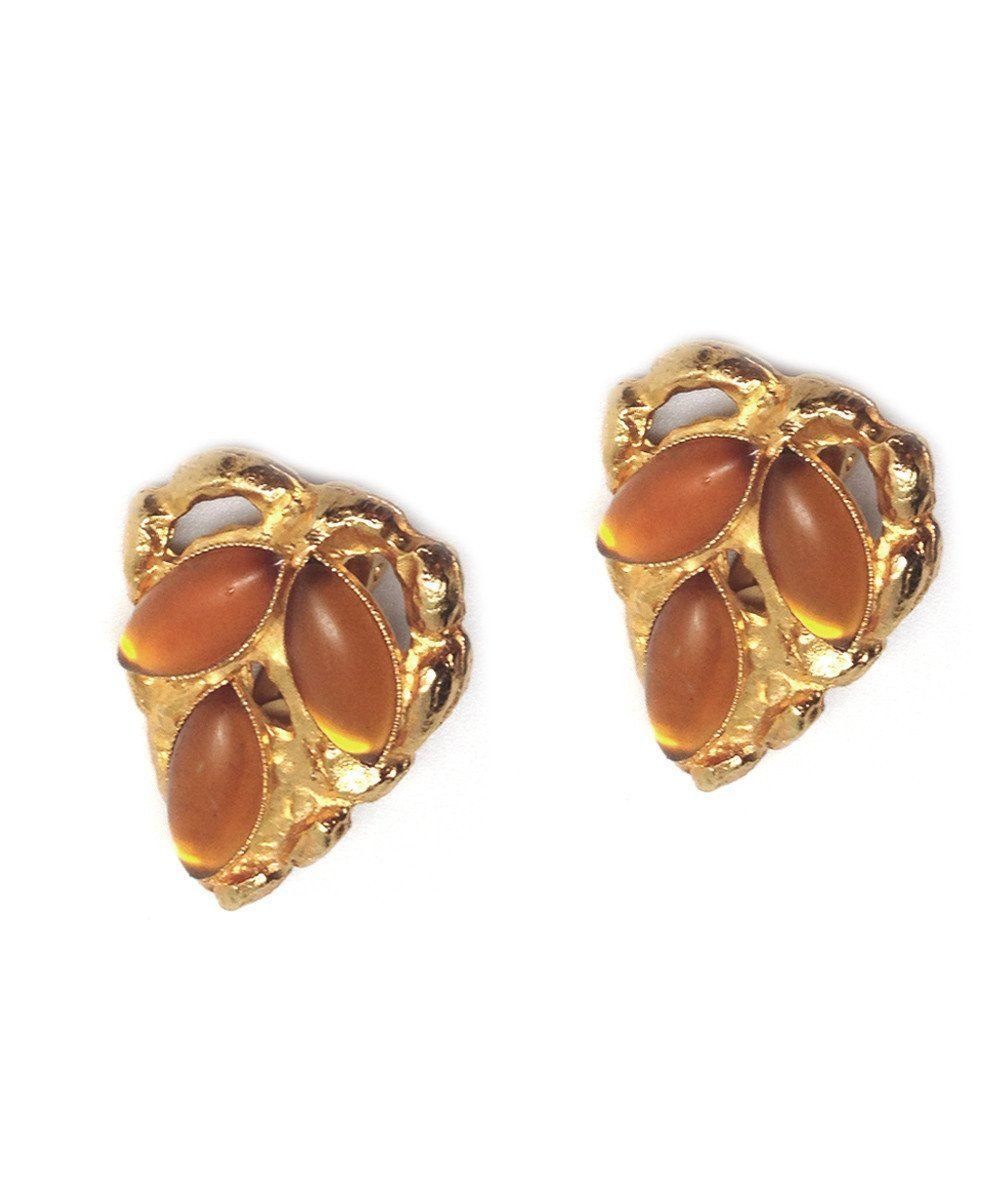 Shuttle heart clip earrings - Orange - Carole Saint Germes