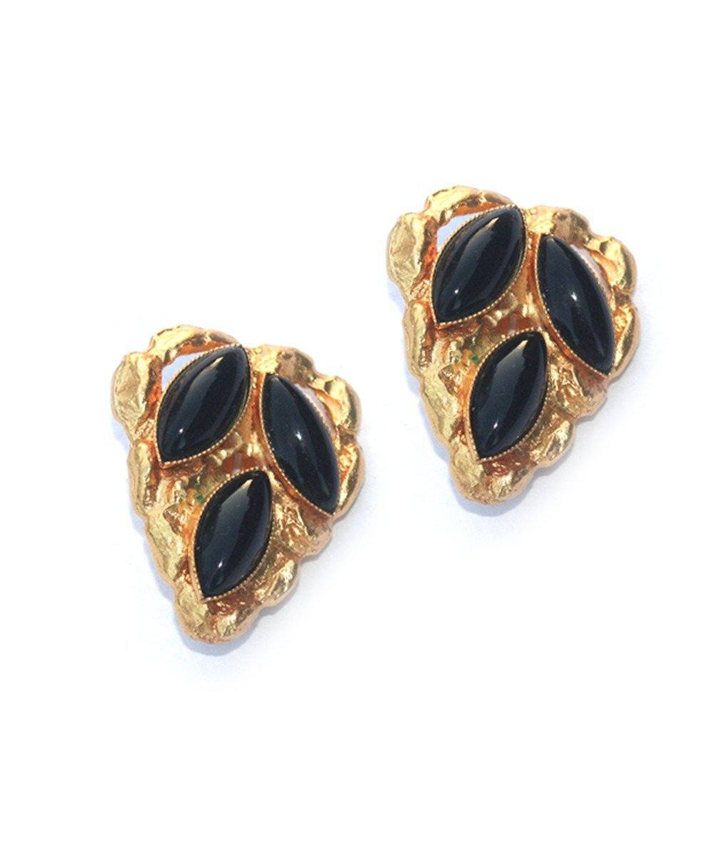 Shuttle heart clip earrings - Black - Carole Saint Germes