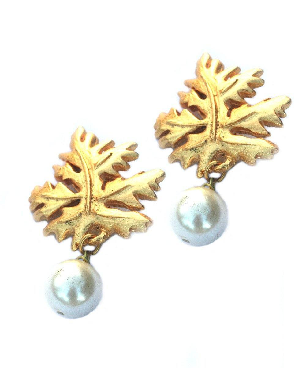 Leaf and pearl clip earrings - Carole Saint Germes