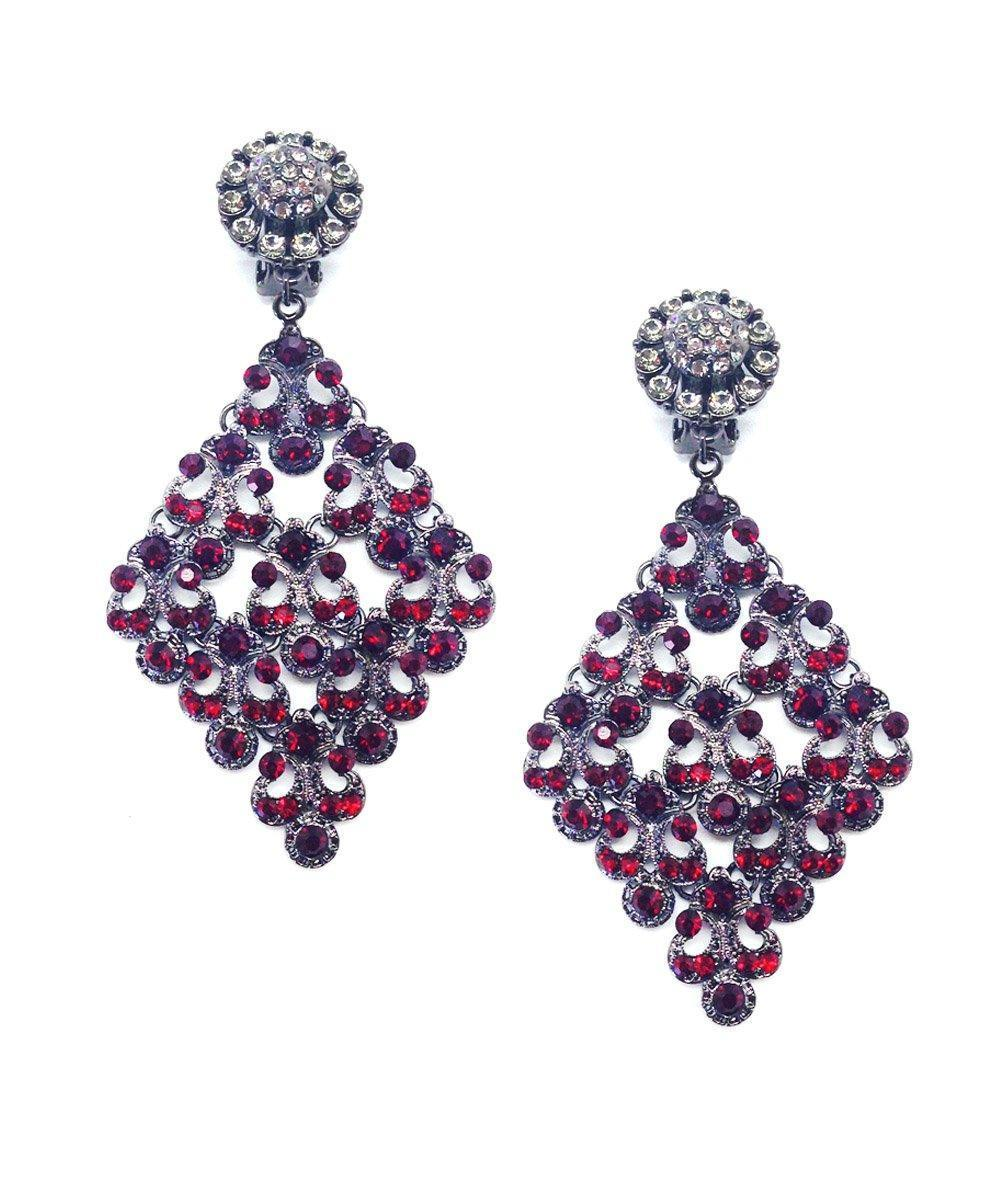 Red night clip earrings - Editions LESSisRARE Bijoux