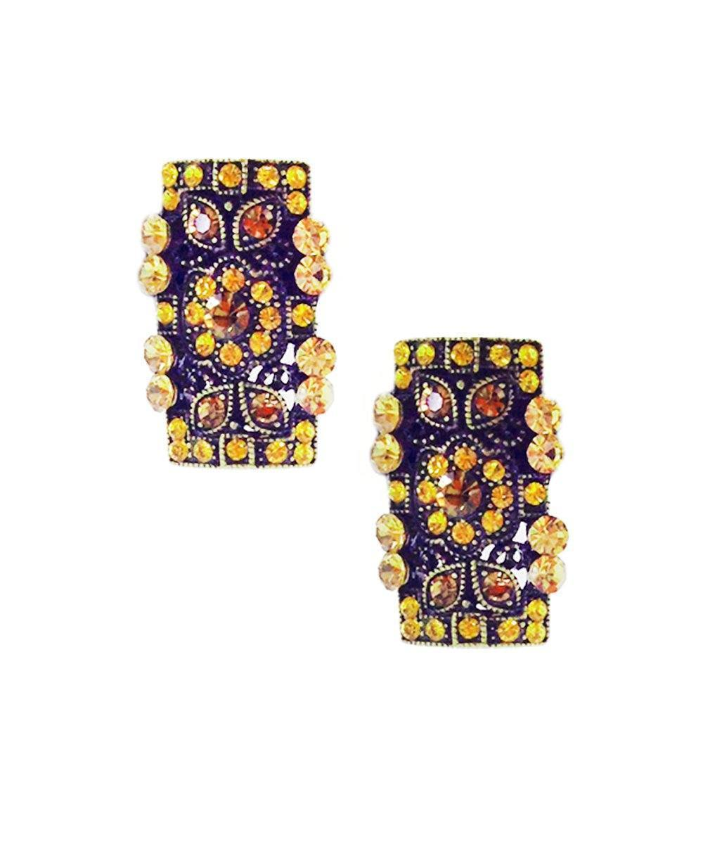 Honey rectangle clip earrings - Editions LESSisRARE Bijoux
