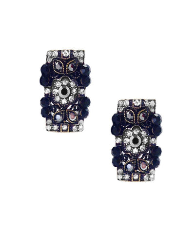 Boucles d'oreille clip rectangle noires Editions LESSisRARE Bijoux