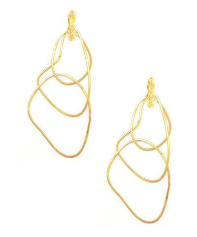 "Trio clip earrings with golden rings - ""Mirages"" designer Earrings"