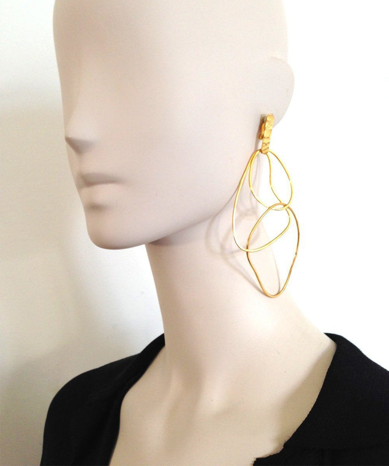 "Clip-on earrings Trio of golden rings - ""Mirages"" designer Earrings"