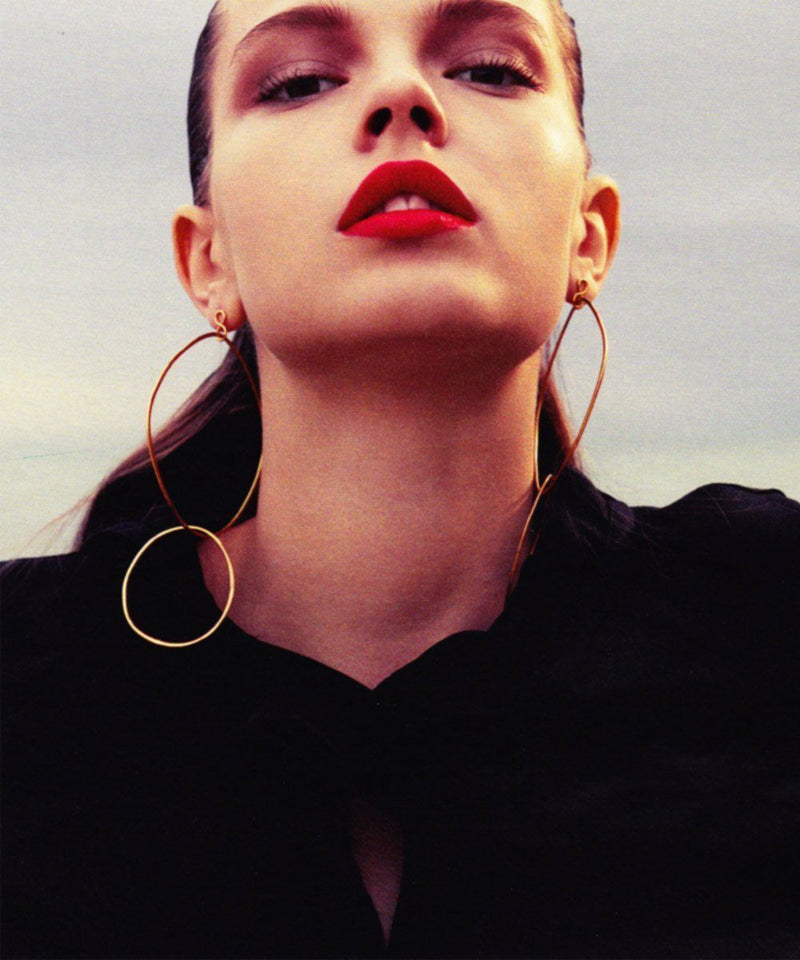"Eloise Fiorentino-Clip earrings duo of golden rings - ""Over the water"" designer"