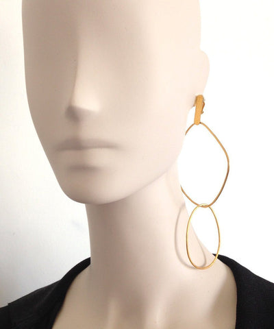 "Eloise Fiorentino-Duo clip earrings gold rings - ""Over the water"" 2 litters"