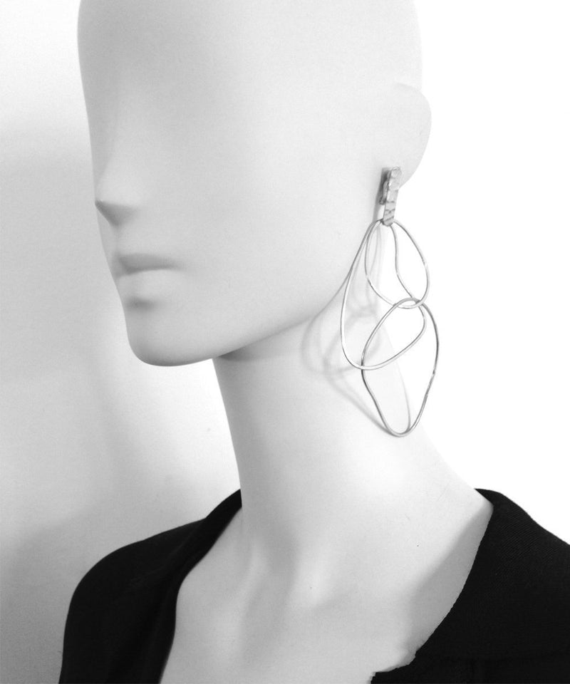 "Clip-on earrings Trio of silver rings - ""Mirages"" eloïse fiorentino"