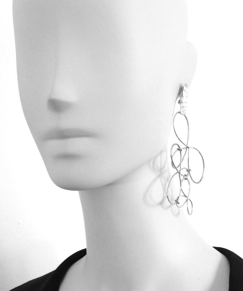 "Eloise Fiorentino Silver oversize clip on earrings - ""Les Rêves"""