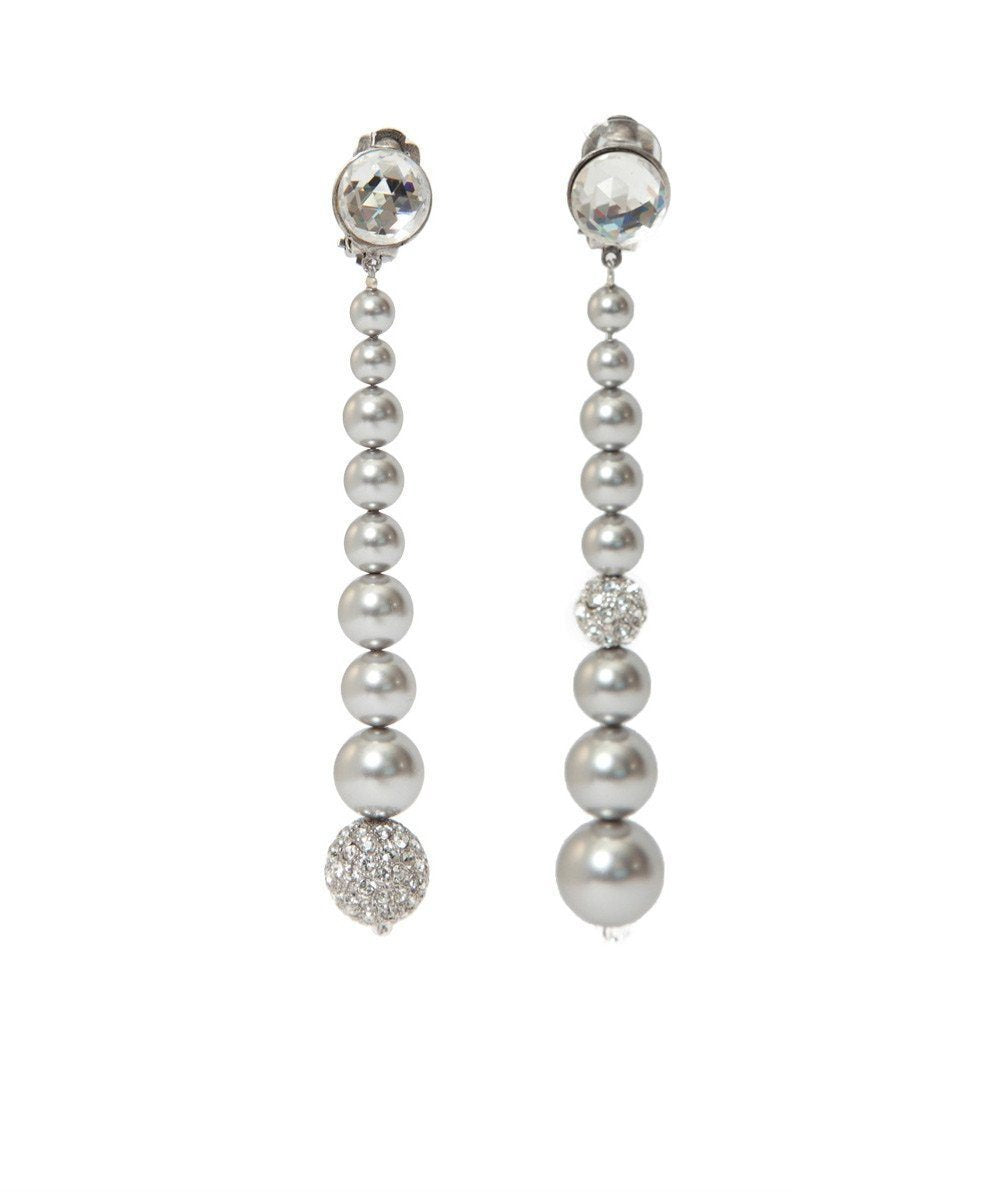 Earrings clips in pearls and rhinestones Swarovski designer Earrings