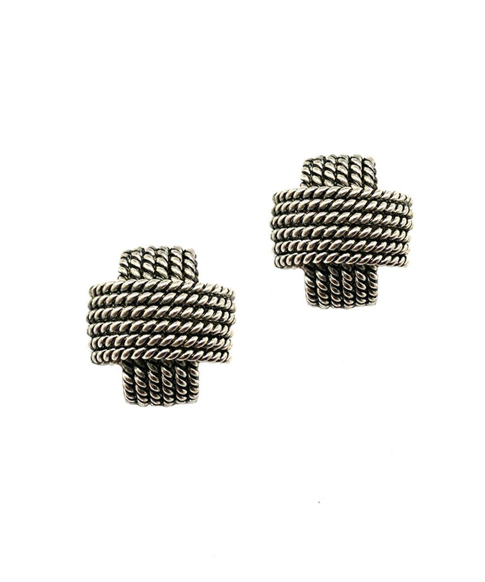 Silver plait clip earrings - Poggi