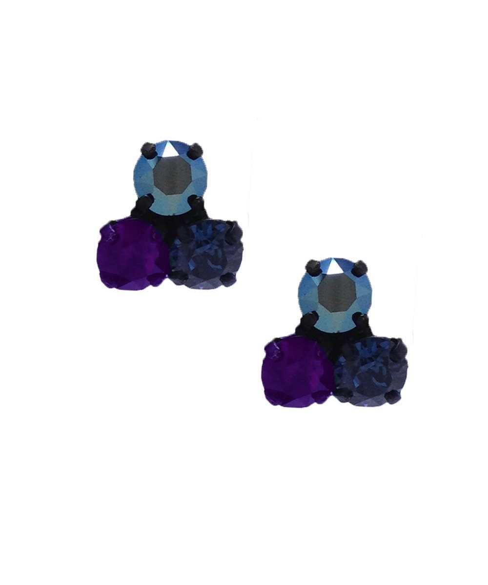 Earrings trio clips of Swarovski crystals blue designer Earrings