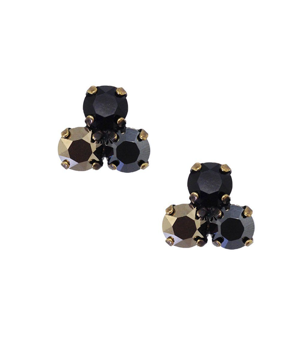 Trio clip earrings with black Swarovski crystals - Vogline