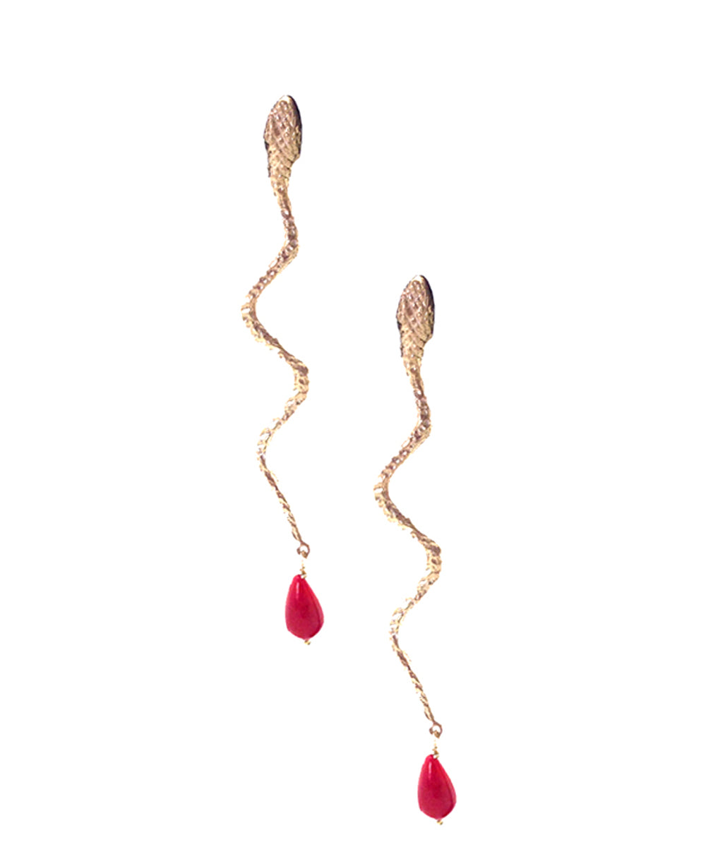 gold snake earrings with coral pearls