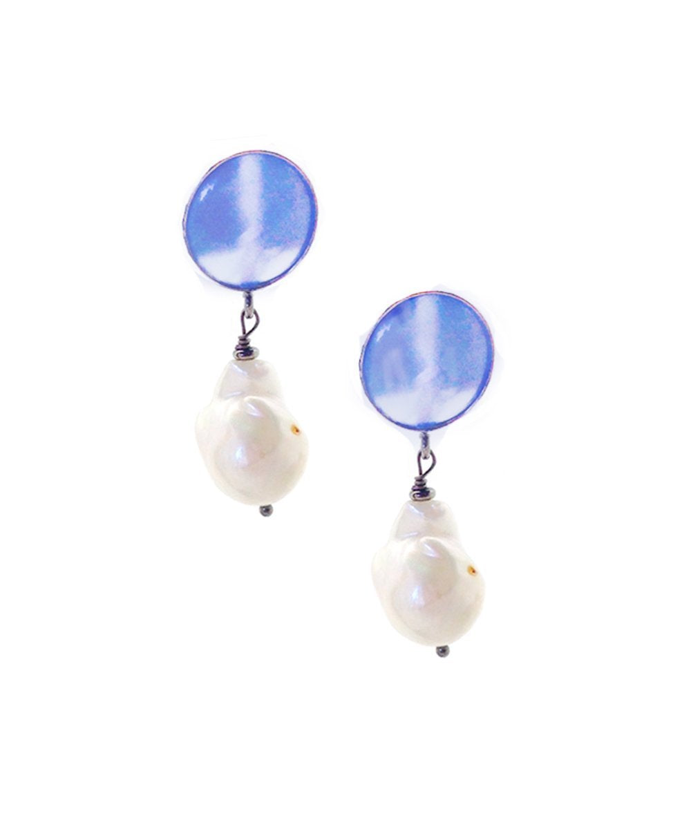 earrings pearl baroque and blue quartz Editions LESSisRARE Pearls