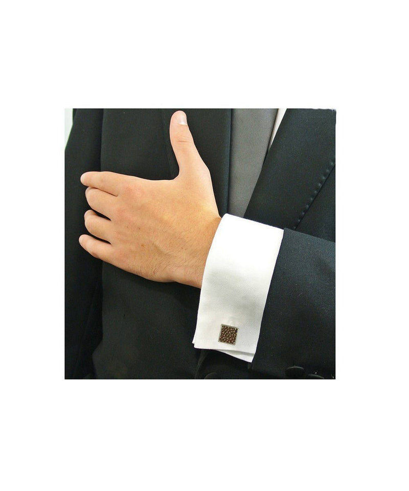 Brown shagreen cufflinks designer bhome