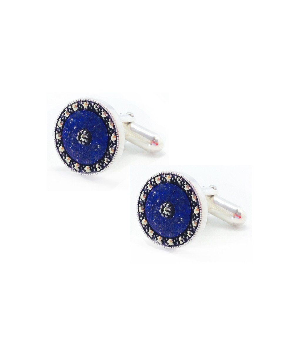 Cufflinks in lapis lazuli and marcasites - Metron