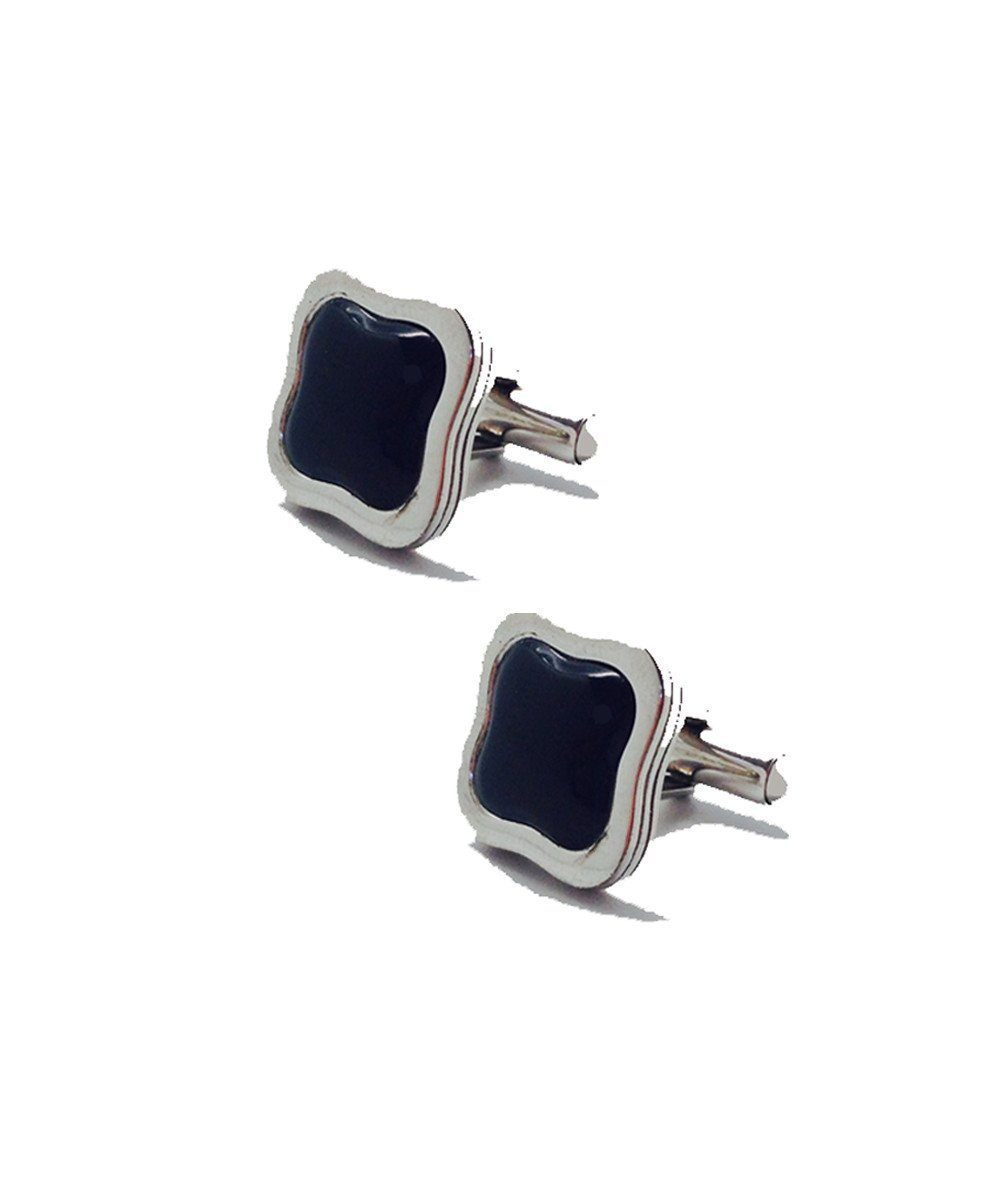 Art Deco cufflinks in silver and designer onyx Cufflinks