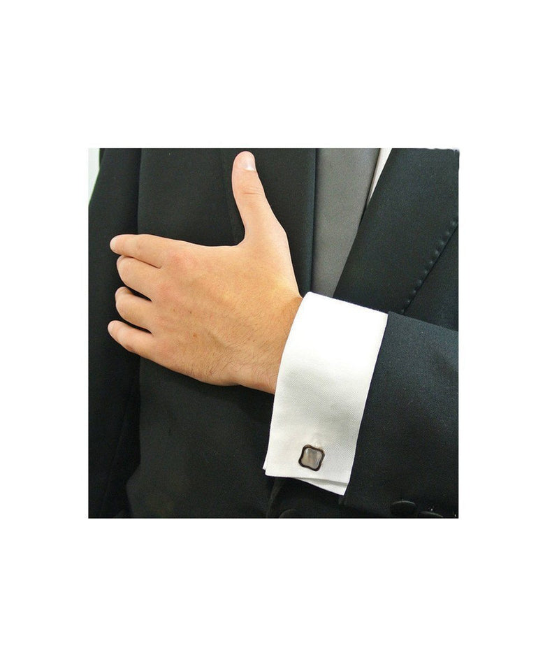 Art Deco cufflinks in silver and mother-of-pearl - Metron