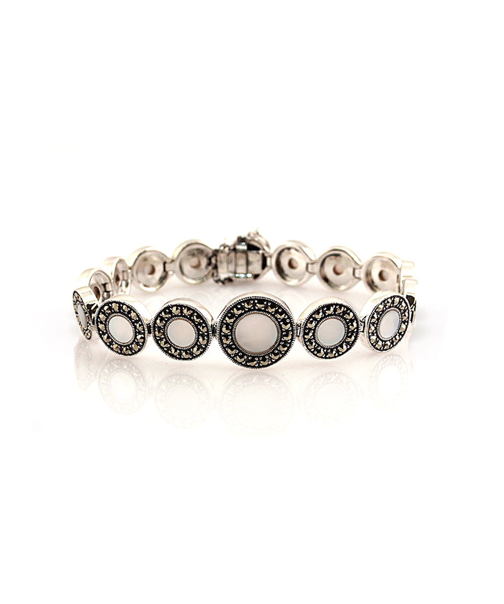 Art deco bracelet mother of pearl silver and marcasites