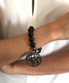 wrist beads onyx-black-pendant-silver-focused