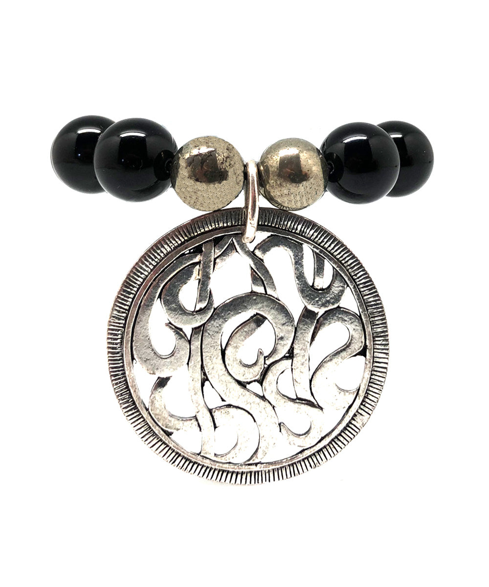 Lhasa bracelet in black onyx and charm - Editions LESSisRARE Bijoux