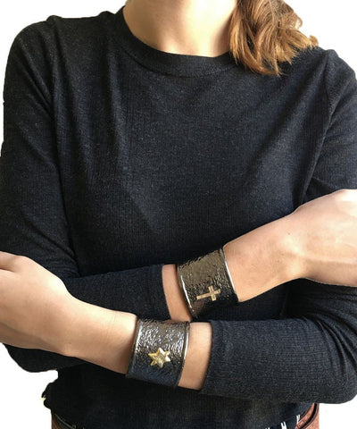 carole-saint-germes-bracelet-cuff-gun-cross worn