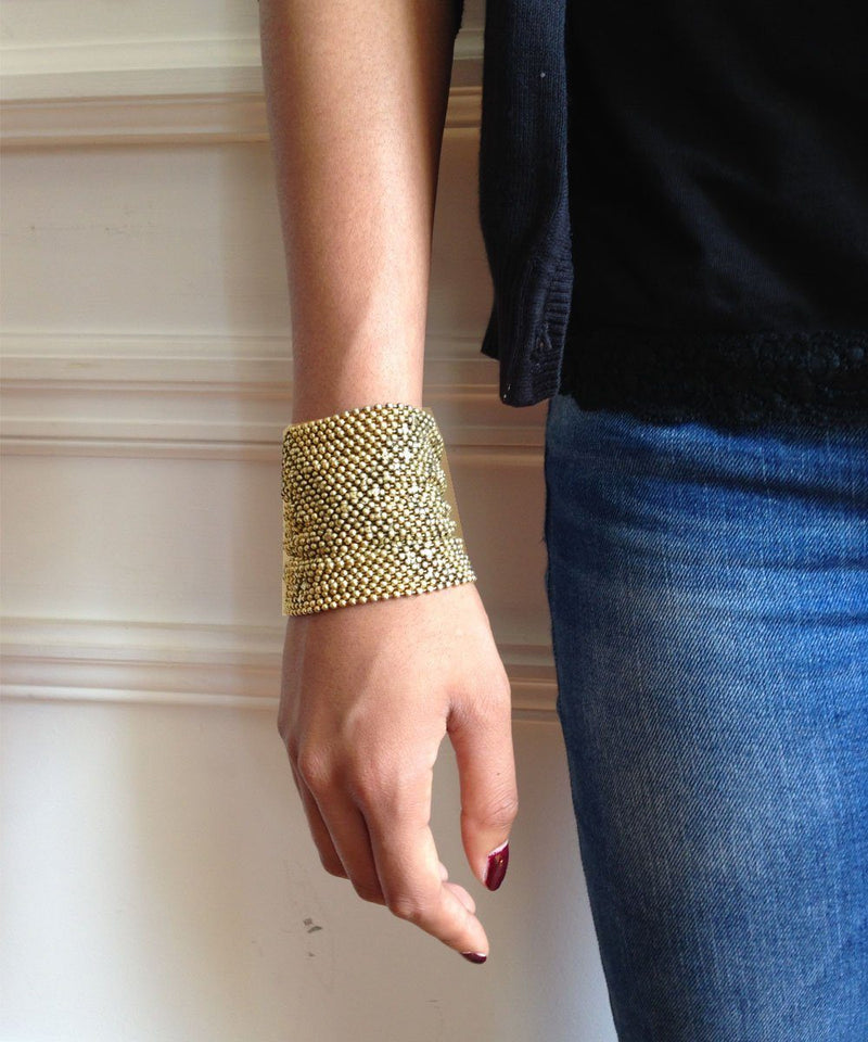 Pink gold mesh cuff bracelet - Editions LESSisRARE Bijoux