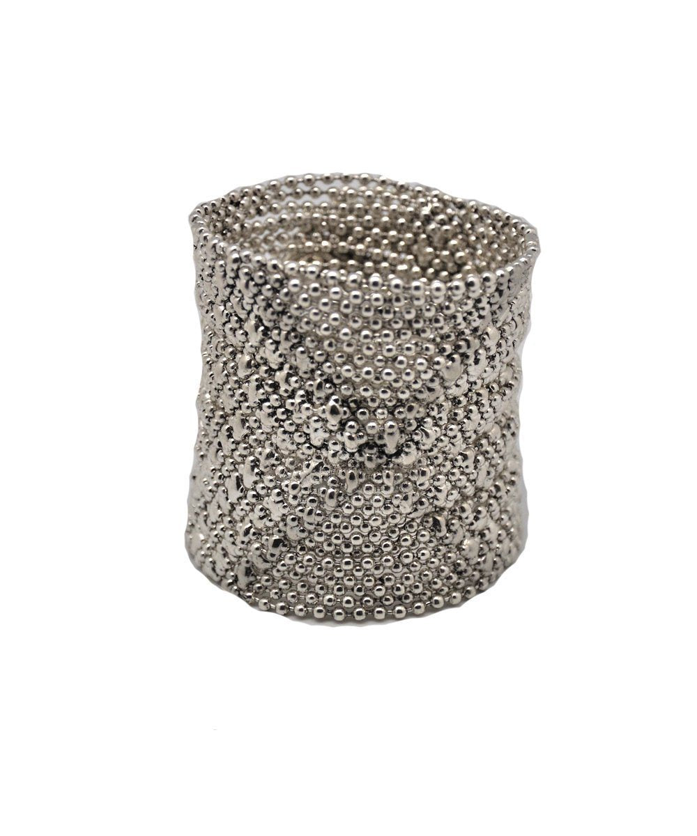 cuff-bracelet-in-mesh-metal-aged-silver Editions LESSisRARE Jewels