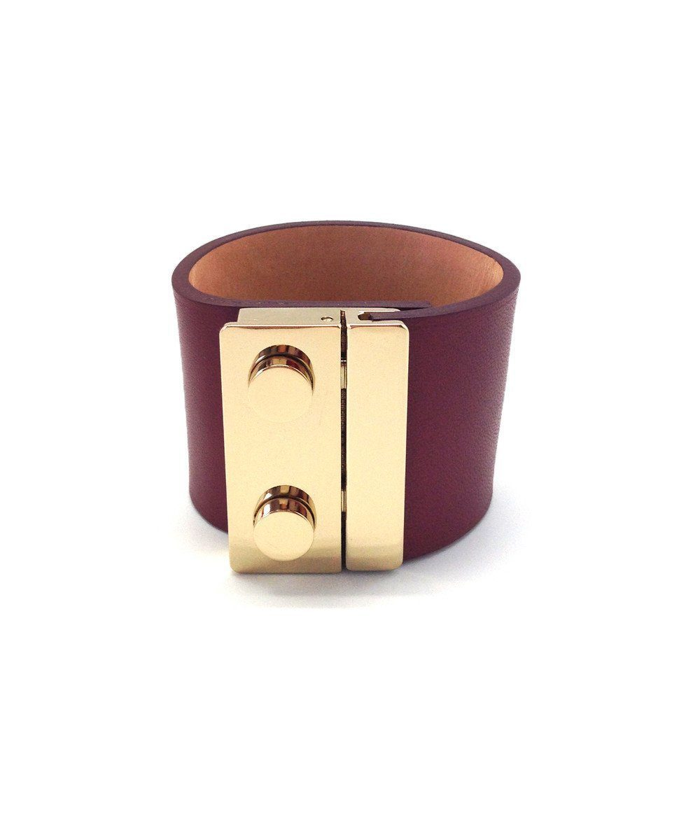 Burgundy leather cuff bracelet - Maison Boinet