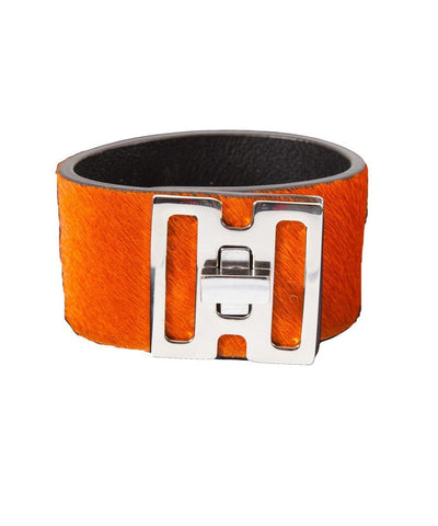 bracelet-cuir-orange-bhome-facon-poulain