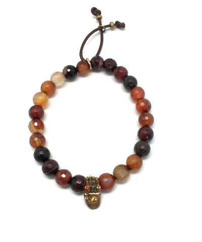 Catherine Michiels Bracelet Agate Fire and Buddha Hand Sapphires Stardust Creator