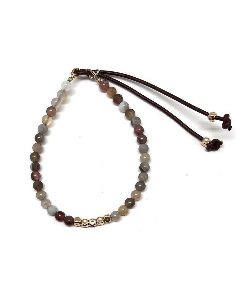 Catherine Michiels Bracelet Agate Gray and Gold Cubes Stardust Creator