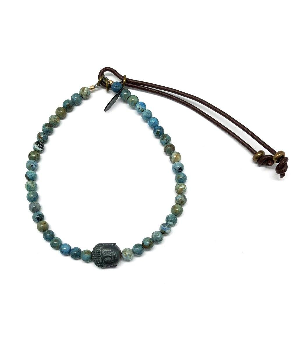 African turquoise bracelet and Buddha pyrite head Stardust - Catherine Michiels
