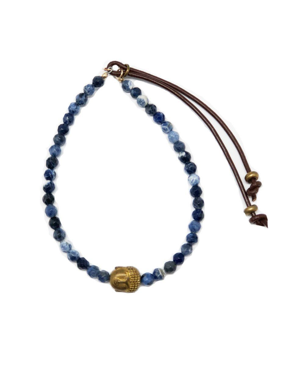 Sodalite beads bracelet and Buddha pyrite head Stardust - Catherine Michiels