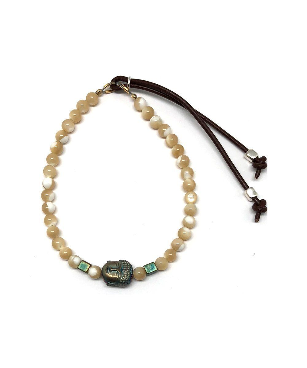 Mother of pearl bracelet, pyrite buddha Stardust - Catherine Michiels