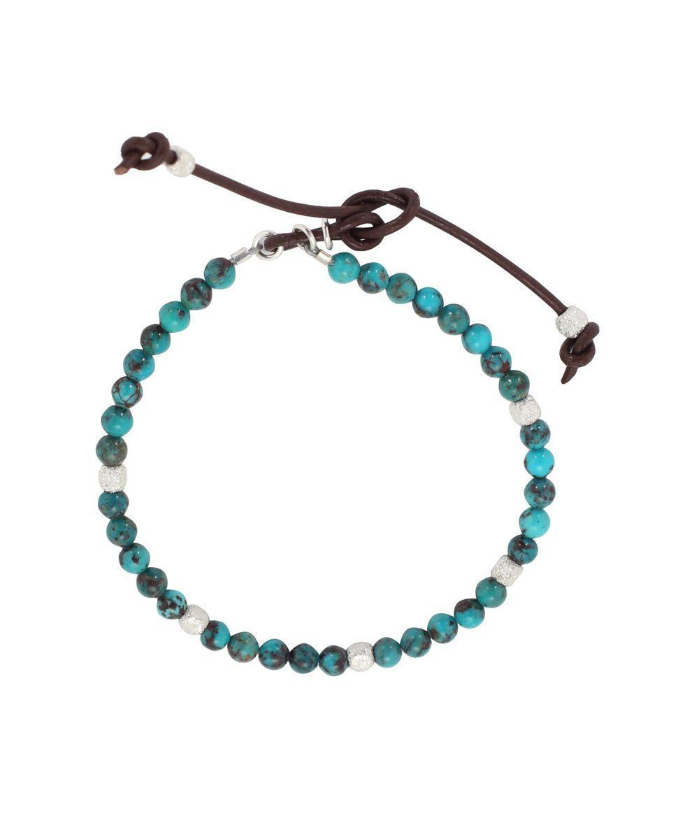 Turquoise beads bracelet with silver cubes Stardust - Catherine Michiels