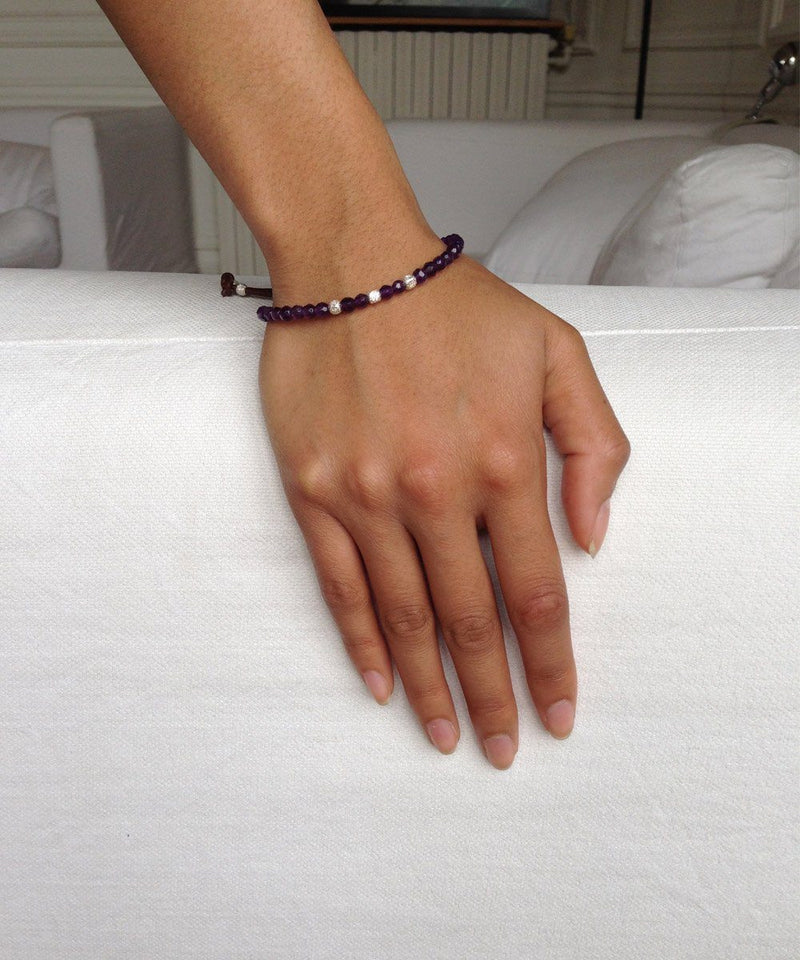 Catherine Michiels Bracelet Amethyst and silver cubes Stardust creator