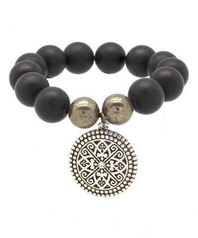 editions-lessisrare-jewelry-bracelet-lhassa-en-onyx-black-mat-pyrites-of-iron-and-charm Editions LESSisRARE Jewels